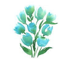 Watercolor Blue Tulips Photographic Print