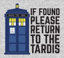 PLEASE RETURN TO THE TARDIS by thischarmingfan