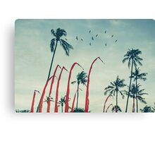 Coconut Palms and Flags Canvas Print