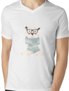 Polar hipster bear in a forest Mens V-Neck T-Shirt