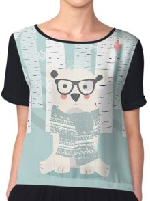 Polar hipster bear in a forest Chiffon Top