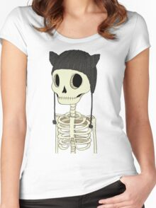 Skeleton Kitty Women's Fitted Scoop T-Shirt