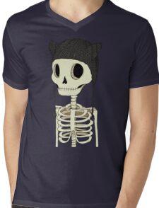 Skeleton Kitty Mens V-Neck T-Shirt