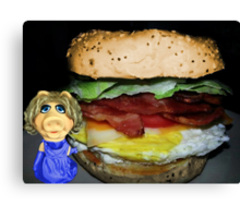 """MISS PIGGY SAYS """"THIS LOOKS GOOD..BUT I'M NOT CRAZY ABOUT ONE INGREDIENT LOL""""..CAN U GUESS WHAT THAT MIGHT BE?? OINK OINK - PICTURE - CARD Canvas Print"""