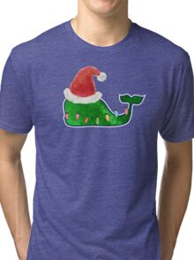 Preppy Christmas Whale Tri-blend T-Shirt