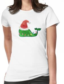 Preppy Christmas Whale Womens Fitted T-Shirt