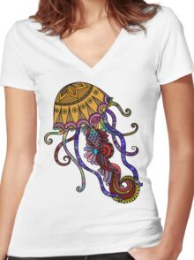 Jelly Fish  Women's Fitted V-Neck T-Shirt