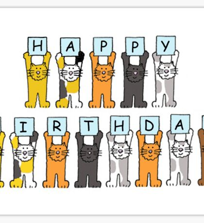 Happy Birthday Kittens. Sticker