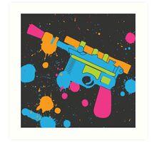 Han Solo Blaster Paint Splatter (Full Color) Art Print