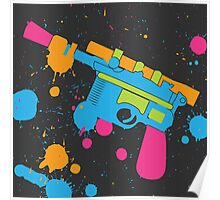 Han Solo Blaster Paint Splatter (Full Color) Poster