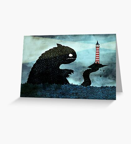 Sea monster & Lighthouse Greeting Card