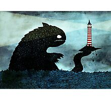 Sea monster & Lighthouse Photographic Print
