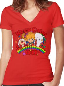 Keep Calm and Rainbow On (Dark) Women's Fitted V-Neck T-Shirt