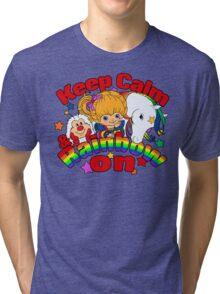 Keep Calm and Rainbow On (Dark) Tri-blend T-Shirt