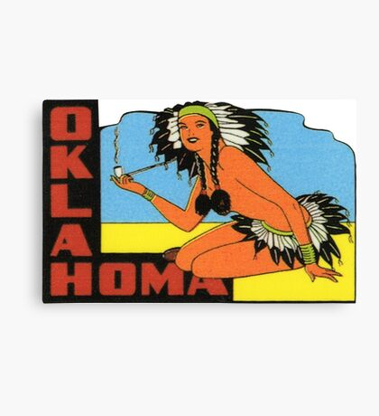 Oklahoma OK State Vintage Pin Up Girl Travel Decal Canvas Print