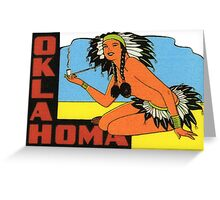 Oklahoma OK State Vintage Pin Up Girl Travel Decal Greeting Card