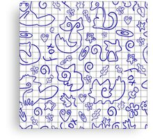 Doodle seamless pattern Back to school Canvas Print