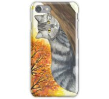 Autumn Cat Again ~ Watercolor Painting iPhone Case/Skin