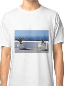 White amphoras with plants in Santorini, Greece Classic T-Shirt