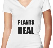 Plants Heal Women's Fitted V-Neck T-Shirt