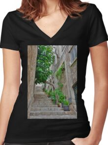 Street in Dubrovnik Old Town Women's Fitted V-Neck T-Shirt