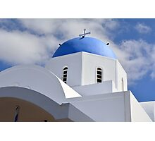 White church with blue cupola in Santorini, Greece Photographic Print