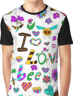 Seamless pattern with bees in various poses, with the text I love bees with different flowers Graphic T-Shirt