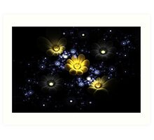 Abstract 3d flowers among the stars in space Art Print
