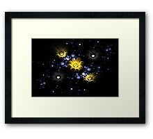 Abstract 3d flowers among the stars in space Framed Print