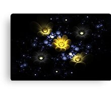 Abstract 3d flowers among the stars in space Canvas Print