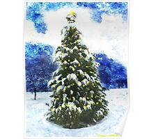 Christmas Tree Winter Landscape Poster