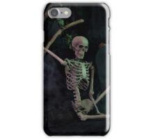 Halloween skeleton resting in graveyard cemetery iPhone Case/Skin