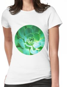GREEN PLANT SUCCULENT Womens Fitted T-Shirt