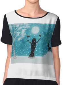 Snow Scene: Girl in Snow with Birds Reindeer and Moon Chiffon Top