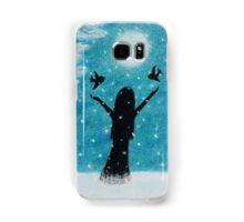 Snow Scene: Girl in Snow with Birds Reindeer and Moon Samsung Galaxy Case/Skin