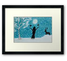 Snow Scene: Girl in Snow with Birds Reindeer and Moon Framed Print
