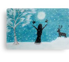 Snow Scene: Girl in Snow with Birds Reindeer and Moon Metal Print