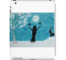 Snow Scene: Girl in Snow with Birds Reindeer and Moon iPad Case/Skin
