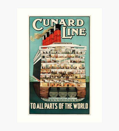 Vintage Cunard Line Ocean Liner Travel Art Print