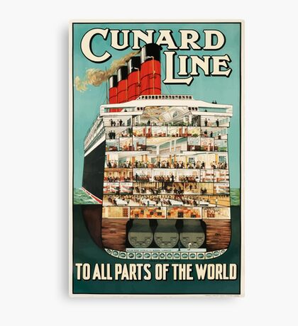 Vintage Cunard Line Ocean Liner Travel Canvas Print