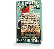 Vintage Cunard Line Ocean Liner Travel Greeting Card