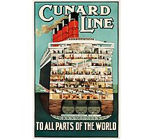 Vintage Cunard Line Ocean Liner Travel Photographic Print