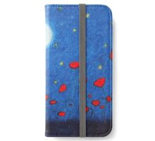 Poppy Field: Poppies with Moon and Stars iPhone Wallet/Case/Skin