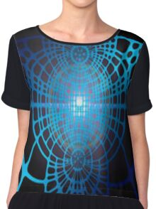 Abstract Blue On Black Chiffon Top