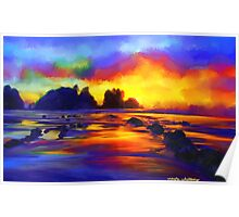 sunset beach Landscape Ocean Tropical Poster