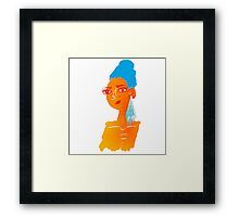 Illustration of beautiful hand drawn woman with blue hair Framed Print
