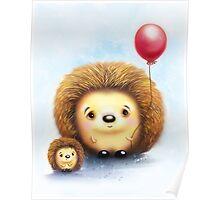 Cute Little Hedgehogs & a Balloon Poster