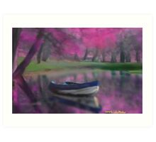 France boat landscape Seascape impressionist Art Print