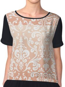 Coral Ombre Damask Chiffon Top