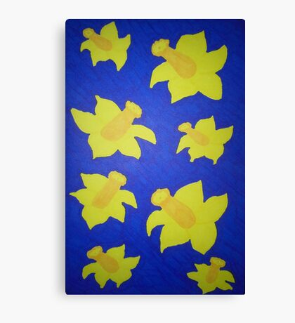 Pop Art Daffodils in Blue Canvas Print